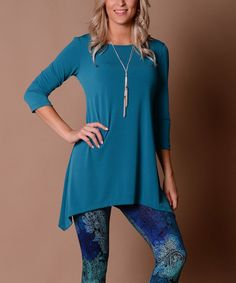 This Lbisse Parfait Teal Sidetail Tunic by Lbisse is perfect! #zulilyfinds