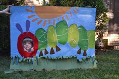 Very Hungry Caterpillar Photo Prop - Scrapbook paper torn and placed on cardboard box; Mod Podge on top