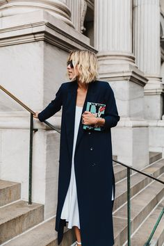 City styling navy blue long coat fashion in the city km
