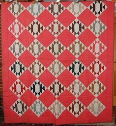 Vintage 1880's Hourglass Hand Stitched Antique Quilt Nice Calico Fabrics Mint | eBay