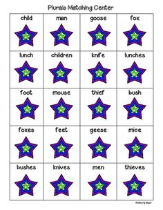 A fun center for the students to make matches of singular and irregular plural nouns, for example goose/geese, elf/elves, man/men, lunch/lunches, wife/wives, etc.  After the students match the singular and plural nouns, the students record the pairs on their recording sheet.