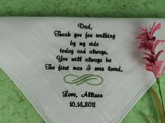 Hanky for dad on your wedding day.