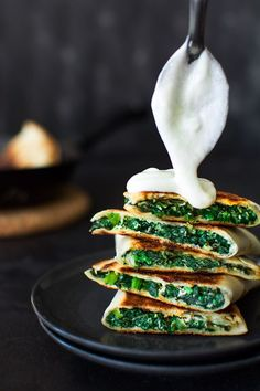 Crispy tortilla stuffed with creamy, delicious spinach. Inspired by traditional Greek Spinakopita pie.