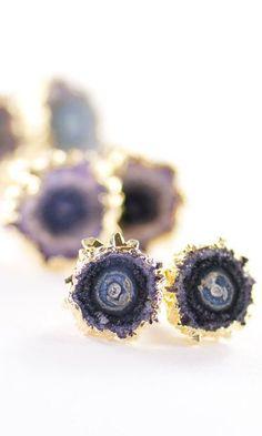 Kakahi earrings gold amethyst stud earrings by kealohajewelry