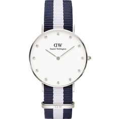 DANIEL WELLINGTON 0963DW Classy Glasgow stainless steel watch ($185) ❤ liked on Polyvore featuring jewelry, watches, swarovski crystal jewelry, stainless steel jewelry, stainless steel watches, water resistant watches and white face watches