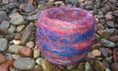 'Red sky at night' needle felted vessel £13.50