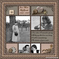 Jean Fitzgerald, 1932-1947 ~ Interesting heritage digi page with the look of a shadowbox. This could be easily adapted to a hand scrapped layout.