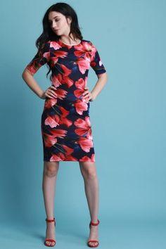 Floral Short Sleeve Bodycon Midi Dress