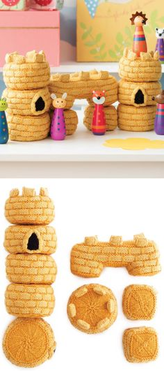 Knitting Pattern for Castle Set - Create a knitted castle of your favorite child's dreams. Pattern is complete with instructions for archways, columns, and circular columns. Windows and merlons are knitted separately and attached. The castle pieces can also be rearranged for even more creative play. Designed by Megan Kreiner