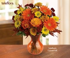 Fall Bouquet of Red, Orange & Yellow Daisies, Gerberas, Roses & Chrysanthemums - Teleflora's Forever Fall
