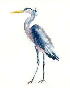 blue heron watercolor art | GREAT blue HERON by DIMDI Original watercolor painting 8x10inchxxxxAll ...
