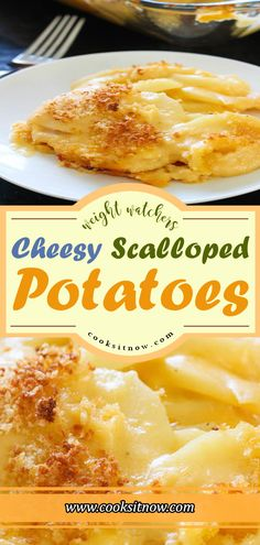 Lightened Up Cheesy Scalloped Potatoes - Recipe Diaries Recipe Sites, Ww Recipes, Slow Cooker Recipes, Gourmet Recipes, Crockpot Recipes, Scalloped Potato Recipes, Scallop Recipes, Cheesy Potatoes, Bakken
