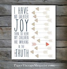 Nursery Art, Arrows and Bible verse 8x10 Navy Champagne Coral or Mint 3 John 1:4 I HAVE NO GREATER JOY than to hear my children are walking in the TRUTH. amen