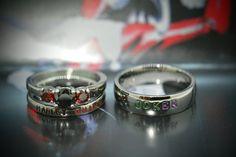 Harley Quinn and Joker Rings Black Diamond CZ by LawrenceCustoms