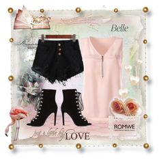 """ROMWE BLACK DENIM SHORTS Romantic Pink"" by silvijo ❤ liked on Polyvore"