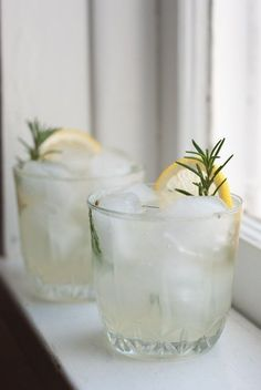 Rosemary Gin Fizz -- // 3 one-inch sprigs of fresh rosemary / 1 small lemon, juiced / 1/2 teaspoon honey / 1 1/2 ounces gin / 3 ounces club soda // In a small drinking glass, muddle the fresh rosemary, lemon juice and honey. Fill the glass with ice, then pour in the gin and top with club soda. Give it a little swirl with a spoon.