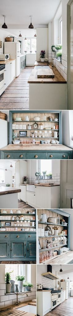 Belfast Sink | Reclaimed Scaffold Worktop | Wickes Neutral Kitchen | Reclaimed Scaffold Board Worktops | Neutral Kitchen With Vintage Details | Kitchen Gallery Wall | Reclaimed Painted Distressed Dresser | Vintage Pendant Lights | Vintage kitchen dresser | Neutral kitchen