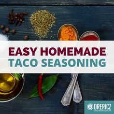This 5 ingredient homemade taco seasoning recipe is super easy! Make it in under a minute from spices you probably already have on hand.