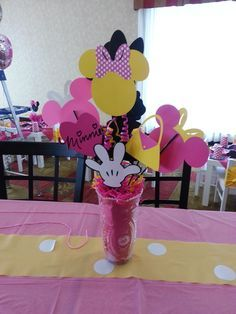 Cute centerpieces at a Minnie Mouse girl birthday party!  See more party ideas at CatchMyParty.com!