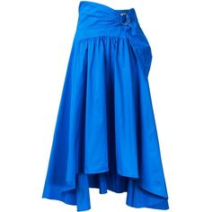 Peter Pilotto buckle detail pleated skirt ($495) ❤ liked on Polyvore featuring skirts, blue, summer midi skirts, blue high waisted skirt, blue high low skirt, cobalt blue skirt and high-waisted skirts
