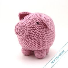 Knitting Pattern Toy Pig PDF. Knit Your Own Hog. by NattyKnits