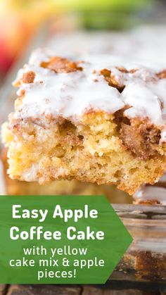 Easy apple coffee cake made with yellow cake mix, fresh apples and lots of cinnamon sugar swirled in. This easy apple cinnamon cake will become your favorite fall cake and your house will smell like Cinnabon! Cake Easy Apple Coffee Cake with Cake Mix Easy Apple Cake, Apple Cake Recipes, Easy Cake Recipes, Cupcake Recipes, Yellow Cake Recipes, Apple Cinnamon Cake, Apple Spice Cake, Cinnamon Butter, Apple Pie