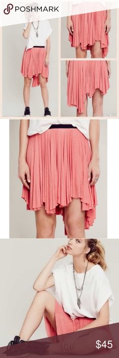 Free People Last Chance Skirt Free People Last Chance asymmetrical skirt in English Tea Rose Drapey jersey material, asymmetrical hemline and exposed elastic waistband Very soft and cute In great condition Free People Skirts Asymmetrical