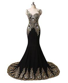 a1d8740b690e Dydsz Womens Long Evening Dresses Formal Gowns Mermaid Plus Size Gold  Appliques D86 Sparkly Prom Dresses