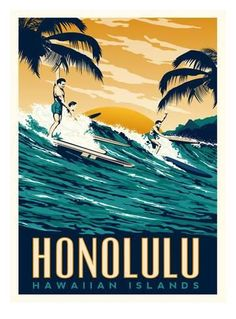 size: Stretched Canvas Print: Honolulu by Matthew Schnepf : Using advanced technology, we print the image directly onto canvas, stretch it onto support bars, and finish it with hand-painted edges and a protective coating. Vintage Surf, Vintage Hawaii, Hawaii Painting, Surfing Painting, Hawaiian Art, Surf Art, Painting Edges, Vintage Travel Posters, Stretched Canvas Prints
