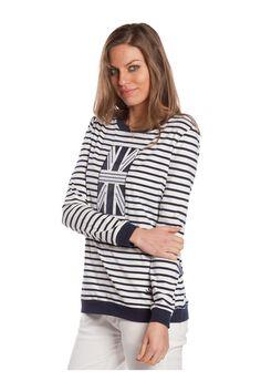 T-shirt de manga larga, estampada de rayas y con bordado frontal. #navystyle - MUJER | Rosalita McGee