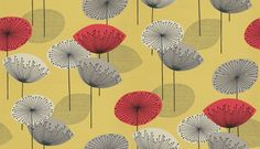 Dandelion Clocks - Sanderson Wallpapers - New colours for this popular funky retro design with stylised dandelion flowers in bold colour combinations. Shown in red and taupe on a bold yellow. Other colourways available. Dandelion Clock, Dandelion Flower, Clock Wallpaper, Bold Colors, Colours, Interior Design Work, History Of Photography, Gadgets And Gizmos, Painted Paper