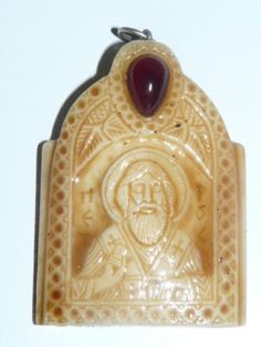 CARVED PENDANT BYZANTINE BONE ICON