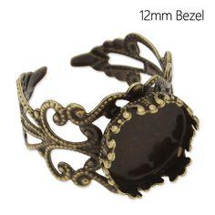 20 unids bronce antiguo ronda Cabochon Rings ajustes filigrana flor bisel espacios en blanco del anillo, interior 12 mm Adjustable C4644 en…