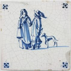 Antique Delft tile with a wealthy couple and their dog, 17th century