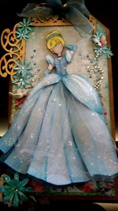 Gorgeous Cinderella Handmade Card with lots of sparkle, tulle, and rhinestones.