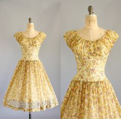 Vintage 50s Dress/ 1950s Party Dress/ Yellow by WhenDecadesCollide, $128.00