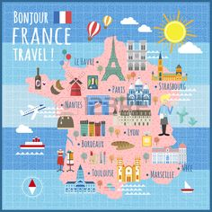 Attractive France Travel Map With Attractions And Specialties Stock Vector… Travel Maps, Travel List, Travel Posters, Travel Destinations, Travel Photos, Paris Illustration, Travel Illustration, Map Illustrations, Paris Map