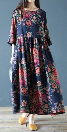 o neck cotton linen Robes Work Outfits navy prints Dress bracelet sleeved - spring linen dresses - Simple Dresses, Casual Dresses, Fashion Dresses, Loose Dresses, Navy Dress Outfits, Dresses For Work, Linen Dresses, Cotton Dresses, Printed Dresses