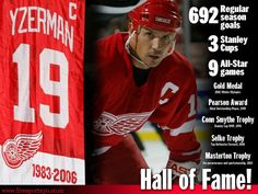 Steve Yzerman: just a few reasons why he's one of the greatest in the history of the NHL. Detroit Hockey, Detroit Sports, Detroit Michigan, Hockey Teams, Sports Teams, Hockey Logos, Hockey Stuff, Detroit Vs Everybody