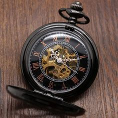 Luxury Steampunk Pocket Watch Relogio De Bolos Vintage Black/Silver Semicircle Mechanical Hand Wind Pocket Watch Chain Gifts FOB