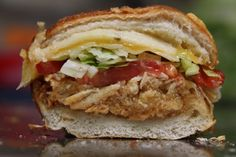 Sandwich from Ikes  Halal chicken, realy honey, honey mustard, bbq, pepper jack, swiss, cheddar, lettuce, tomato