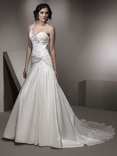 Sexy one shoulder  trumpet / mermaid floor-length bridal gowns