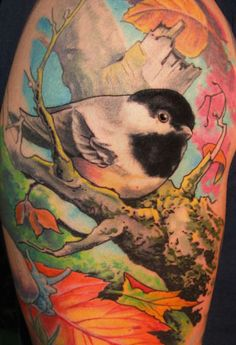 black capped chicadee by Ink & Dagger Tattoo Parlour, via Flickr