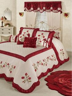 Dream like a sleeping beauty beneath the Briar Rose Floral Oversized Bedspread. Grande bedspread has a 24 drop and dark red and blush vining rose embroidery. Bed Decor, Bed Cover Design, Bed Design, Bed Sheet Painting Design, Bed Sheets, Designer Bed Sheets, Bed, Bedroom Decor, Bedding Sets