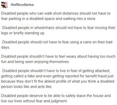 #chronicillness #chroniclife #ChronicPain #Spoonielife #hiddenillness #invisibleillness #ChronicIllnesses #Spoonies #InvisibleDisabilities   https://thesickpanda.tumblr.com/post/174988037534/thefibrodiaries-disabled-people-who-can-walk