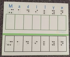 """Try this braille and print """"That's My Name!"""" Game to practice student's name. Great for the first weeks of school! Find it on the Sensory Sun Blog: Resources for Children with Visual Impairments 