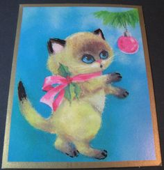 Christmas •~• vintage greeting card of Siamese cat with pink ornament