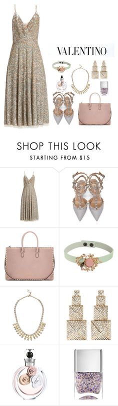 """""""Valentino Sequin Midi Dress"""" by majezy ❤ liked on Polyvore featuring Valentino, RED Valentino and Nails Inc."""