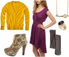 Purple + yellow outfit