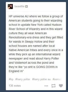 LMAO but really I want an AU fic of an American wizarding school! Just don't make us sound like uneducated idiots.